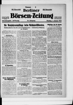 Berliner Börsen-Zeitung vom 03.01.1927