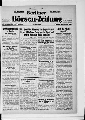 Berliner Börsen-Zeitung vom 07.01.1927