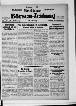Berliner Börsen-Zeitung vom 10.01.1927