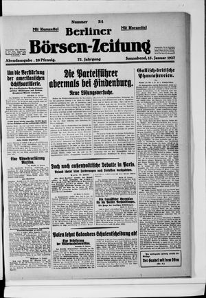 Berliner Börsen-Zeitung vom 15.01.1927