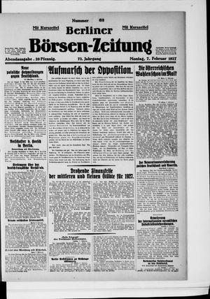 Berliner Börsen-Zeitung vom 07.02.1927