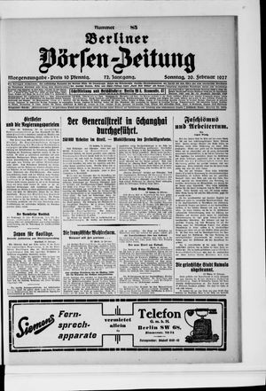 Berliner Börsen-Zeitung vom 20.02.1927