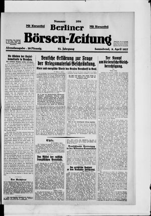 Berliner Börsen-Zeitung vom 09.04.1927