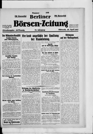 Berliner Börsen-Zeitung vom 20.04.1927