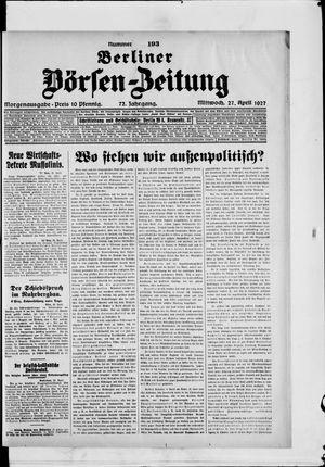 Berliner Börsen-Zeitung on Apr 27, 1927