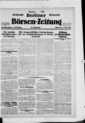 Berliner Börsen-Zeitung vom 04.05.1927