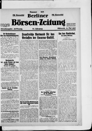 Berliner Börsen-Zeitung vom 11.05.1927