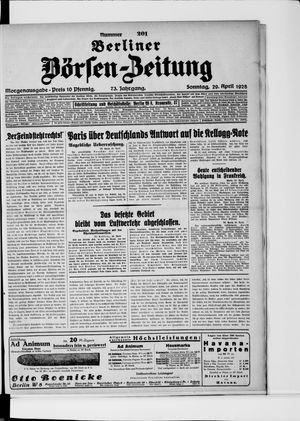 Berliner Börsen-Zeitung vom 29.04.1928