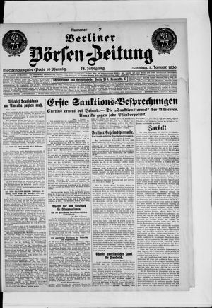 Berliner Börsen-Zeitung vom 05.01.1930