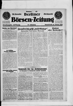 Berliner Börsen-Zeitung vom 25.01.1930
