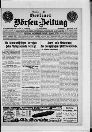 Berliner Börsen-Zeitung vom 02.02.1930