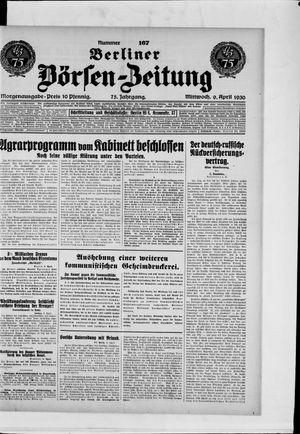 Berliner Börsen-Zeitung vom 09.04.1930