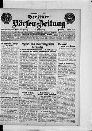 Berliner Börsen-Zeitung on Apr 11, 1930