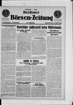 Berliner Börsen-Zeitung vom 19.04.1930