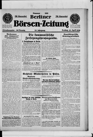 Berliner Börsen-Zeitung vom 25.04.1930