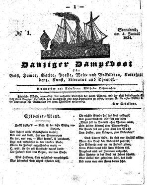 Danziger Dampfboot für Geist, Humor, Satire, Poesie, Welt- und Volksleben, Korrespondenz, Kunst, Literatur und Theater vom 04.01.1834