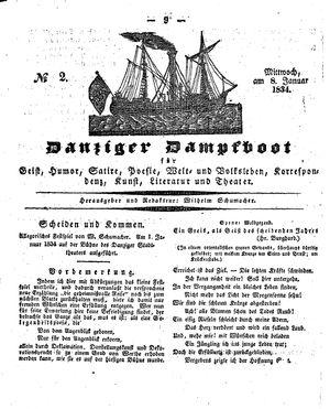 Danziger Dampfboot für Geist, Humor, Satire, Poesie, Welt- und Volksleben, Korrespondenz, Kunst, Literatur und Theater on Jan 8, 1834