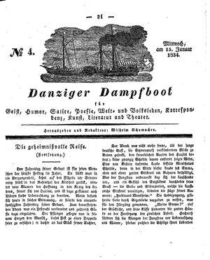 Danziger Dampfboot für Geist, Humor, Satire, Poesie, Welt- und Volksleben, Korrespondenz, Kunst, Literatur und Theater vom 15.01.1834