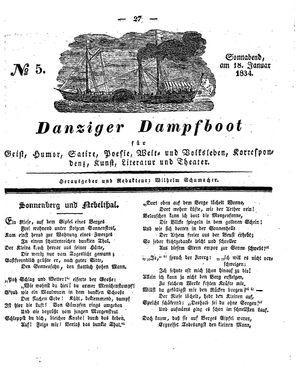 Danziger Dampfboot für Geist, Humor, Satire, Poesie, Welt- und Volksleben, Korrespondenz, Kunst, Literatur und Theater vom 18.01.1834