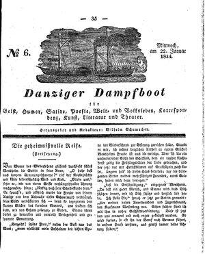 Danziger Dampfboot für Geist, Humor, Satire, Poesie, Welt- und Volksleben, Korrespondenz, Kunst, Literatur und Theater on Jan 22, 1834