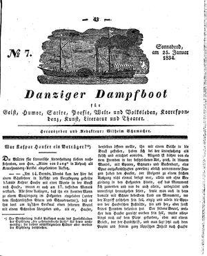 Danziger Dampfboot für Geist, Humor, Satire, Poesie, Welt- und Volksleben, Korrespondenz, Kunst, Literatur und Theater vom 25.01.1834