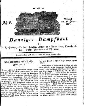 Danziger Dampfboot für Geist, Humor, Satire, Poesie, Welt- und Volksleben, Korrespondenz, Kunst, Literatur und Theater vom 29.01.1834