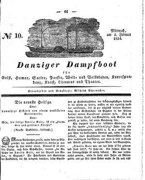 Danziger Dampfboot für Geist, Humor, Satire, Poesie, Welt- und Volksleben, Korrespondenz, Kunst, Literatur und Theater vom 05.02.1834
