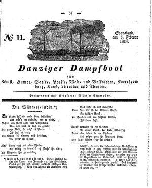 Danziger Dampfboot für Geist, Humor, Satire, Poesie, Welt- und Volksleben, Korrespondenz, Kunst, Literatur und Theater vom 08.02.1834