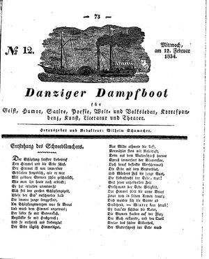 Danziger Dampfboot für Geist, Humor, Satire, Poesie, Welt- und Volksleben, Korrespondenz, Kunst, Literatur und Theater vom 12.02.1834