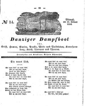Danziger Dampfboot für Geist, Humor, Satire, Poesie, Welt- und Volksleben, Korrespondenz, Kunst, Literatur und Theater vom 19.02.1834