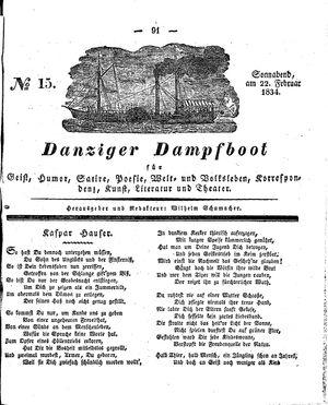 Danziger Dampfboot für Geist, Humor, Satire, Poesie, Welt- und Volksleben, Korrespondenz, Kunst, Literatur und Theater vom 22.02.1834