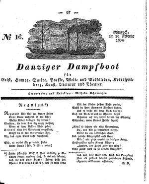 Danziger Dampfboot für Geist, Humor, Satire, Poesie, Welt- und Volksleben, Korrespondenz, Kunst, Literatur und Theater vom 26.02.1834