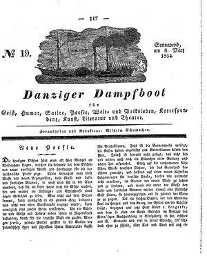 Danziger Dampfboot für Geist, Humor, Satire, Poesie, Welt- und Volksleben, Korrespondenz, Kunst, Literatur und Theater vom 08.03.1834