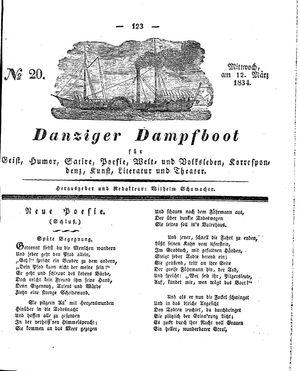 Danziger Dampfboot für Geist, Humor, Satire, Poesie, Welt- und Volksleben, Korrespondenz, Kunst, Literatur und Theater vom 12.03.1834