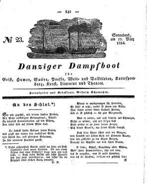 Danziger Dampfboot für Geist, Humor, Satire, Poesie, Welt- und Volksleben, Korrespondenz, Kunst, Literatur und Theater vom 22.03.1834