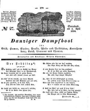 Danziger Dampfboot für Geist, Humor, Satire, Poesie, Welt- und Volksleben, Korrespondenz, Kunst, Literatur und Theater vom 05.04.1834