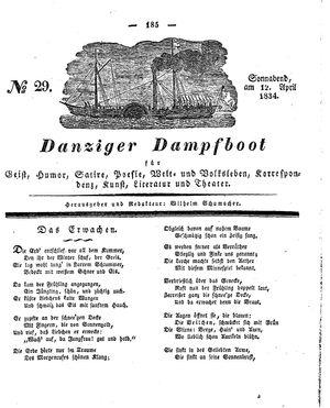 Danziger Dampfboot für Geist, Humor, Satire, Poesie, Welt- und Volksleben, Korrespondenz, Kunst, Literatur und Theater vom 12.04.1834