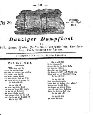 Danziger Dampfboot für Geist, Humor, Satire, Poesie, Welt- und Volksleben, Korrespondenz, Kunst, Literatur und Theater vom 16.04.1834