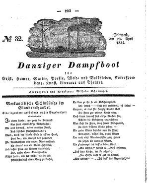 Danziger Dampfboot für Geist, Humor, Satire, Poesie, Welt- und Volksleben, Korrespondenz, Kunst, Literatur und Theater vom 23.04.1834