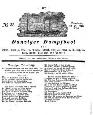 Danziger Dampfboot für Geist, Humor, Satire, Poesie, Welt- und Volksleben, Korrespondenz, Kunst, Literatur und Theater vom 26.04.1834