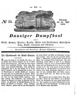 Danziger Dampfboot für Geist, Humor, Satire, Poesie, Welt- und Volksleben, Korrespondenz, Kunst, Literatur und Theater vom 30.04.1834