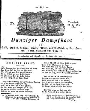 Danziger Dampfboot für Geist, Humor, Satire, Poesie, Welt- und Volksleben, Korrespondenz, Kunst, Literatur und Theater vom 03.05.1834