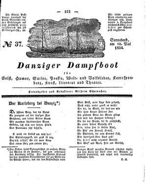 Danziger Dampfboot für Geist, Humor, Satire, Poesie, Welt- und Volksleben, Korrespondenz, Kunst, Literatur und Theater vom 10.05.1834