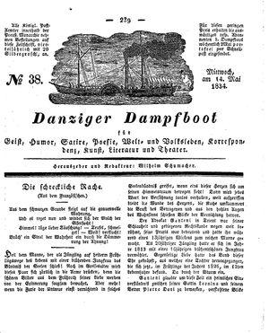 Danziger Dampfboot für Geist, Humor, Satire, Poesie, Welt- und Volksleben, Korrespondenz, Kunst, Literatur und Theater vom 14.05.1834