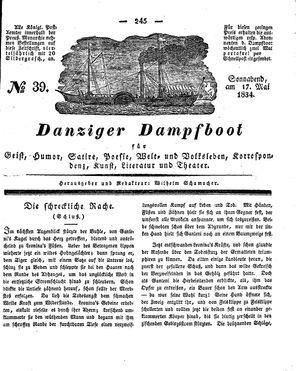 Danziger Dampfboot für Geist, Humor, Satire, Poesie, Welt- und Volksleben, Korrespondenz, Kunst, Literatur und Theater vom 17.05.1834