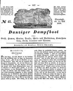 Danziger Dampfboot für Geist, Humor, Satire, Poesie, Welt- und Volksleben, Korrespondenz, Kunst, Literatur und Theater vom 24.05.1834