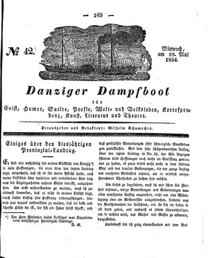 Danziger Dampfboot für Geist, Humor, Satire, Poesie, Welt- und Volksleben, Korrespondenz, Kunst, Literatur und Theater vom 28.05.1834