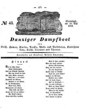 Danziger Dampfboot für Geist, Humor, Satire, Poesie, Welt- und Volksleben, Korrespondenz, Kunst, Literatur und Theater vom 31.05.1834