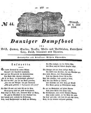 Danziger Dampfboot für Geist, Humor, Satire, Poesie, Welt- und Volksleben, Korrespondenz, Kunst, Literatur und Theater vom 04.06.1834