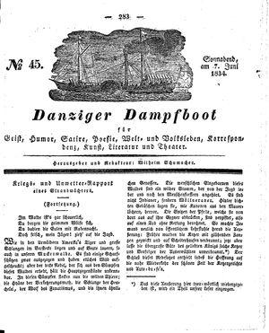 Danziger Dampfboot für Geist, Humor, Satire, Poesie, Welt- und Volksleben, Korrespondenz, Kunst, Literatur und Theater vom 07.06.1834
